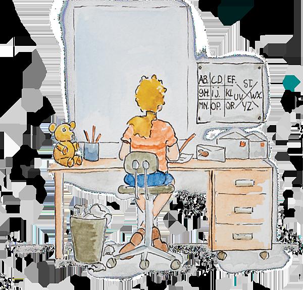 Carlijn aan haar bureau met geheimschriftspiekbriefje