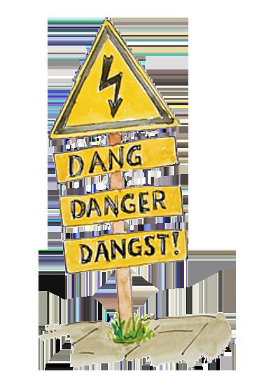 waarschuwingsbord voor elektriciteit met daaronder dang, danger, dangst