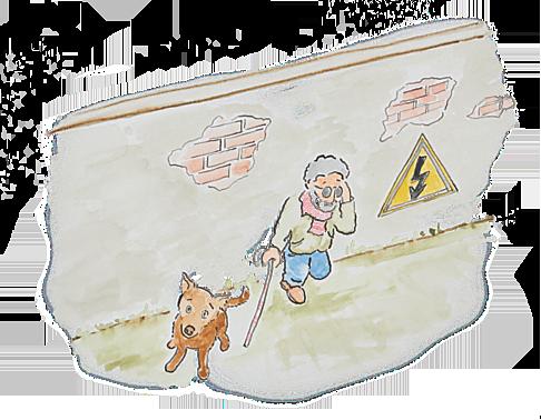 schuin van bovenaf gezien, blinde man leunt tegen muur met een been opgetrokken