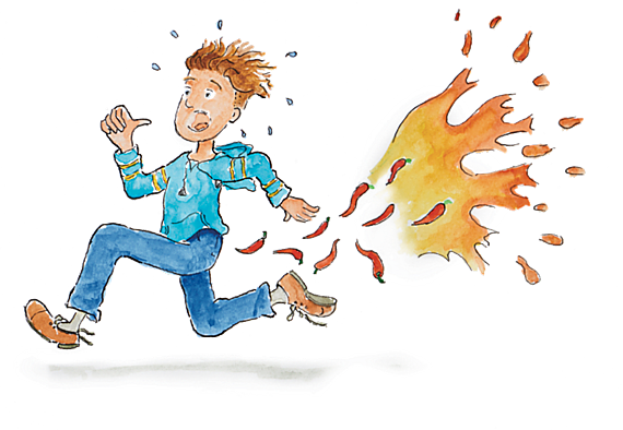 rennende jongen, vuur en zwevende pepers achter hem